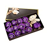 Skyshadow Scented Bath Soap Rose Flower Gift Box for Mothers' Day Gifts/Party/Anniversary/Birthday (Purple)