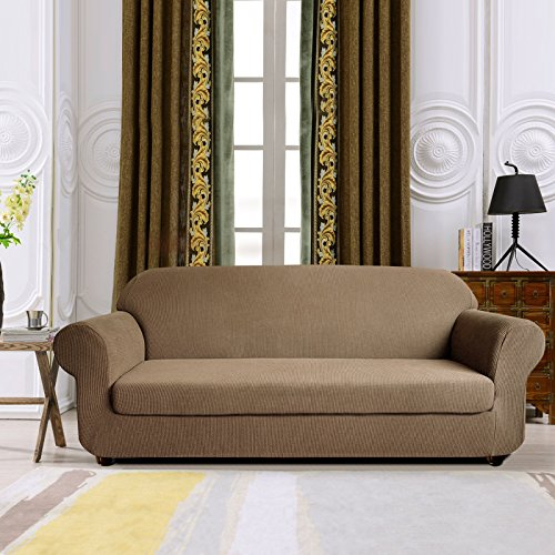 Beige Sectional Couch (Subrtex Spandex Stretch 2-Piece Slipcover (Sofa, sand))
