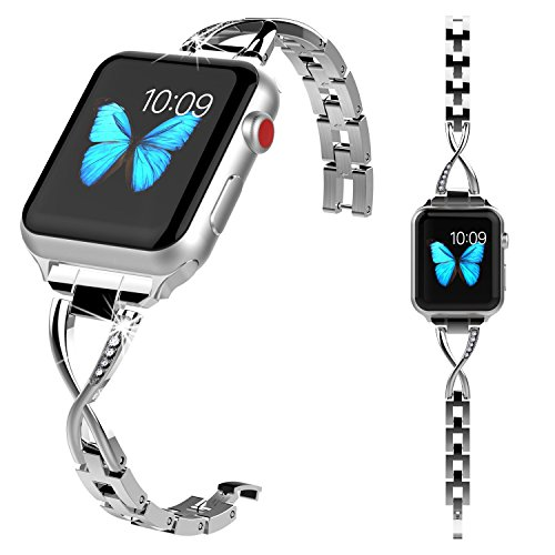 Lwsengme Compatible with Apple Watch Band Women,Steel Bracelet Compatible with iWatch Series 4/3/ 2/1/ Nike+/Herm