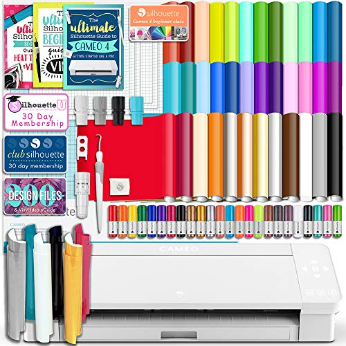 Silhouette White Cameo 4 Starter Bundle with 36 Oracal Vinyl Sheets, T-Shirt Vinyl, Transfer Paper, Class, Guides and 24 Sketch Pens (Silhouette Cutter Machine)