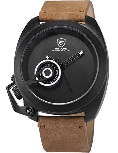 Shark-Herren-Analog-Armbanduhr-Braun-Pferdeleder-SH451