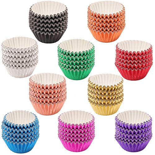 SUBANG 1000 Pieces Mini Tulip Cupcake Liner Baking Cups Muffin Tins Treat Cups Foil Metallic Cupcake Liners for Weddings,Birthdays,Baby Showers,10 Colors