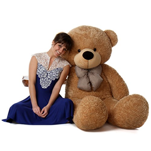 Giant Teddy 5 Foot Life Size Teddy Bear Huge Stuffed Animal Toy Huggable Cute Cuddles Bear (Amber Brown)]()