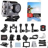 Camera 4K, Enk Sports Camera 4K WiFi Ultra HD Outdoor Sport Camera 2 Inch LCD Screen 170° 30 Meter Waterproof Diving Sport Action WiFi Underwater Video Camera(Black)