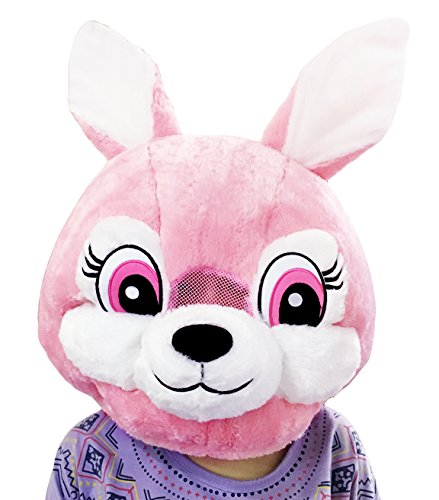 CLEVER IDIOTS INC Animal Head Mask - Plush Costume for Halloween Parties & Cosplay (Rabbit) -
