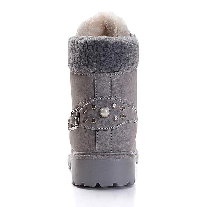 Kinlene Botas de Mujer con Cordones sólidos Botines Casuales Zapatos con Punta Redonda Botas de Nieve de Invierno: Amazon.es: Ropa y accesorios