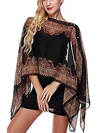Zeagoo Womens Paisley Print Chiffon Poncho Batwing Sleeve Tunic Top