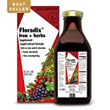 Floradix Liquid Iron + Herbs Supplement 8.5 oz - All Natural, Vegetarian, Vitamin C, Non Constipating - Supports energy & red blood cell production for Women & Men