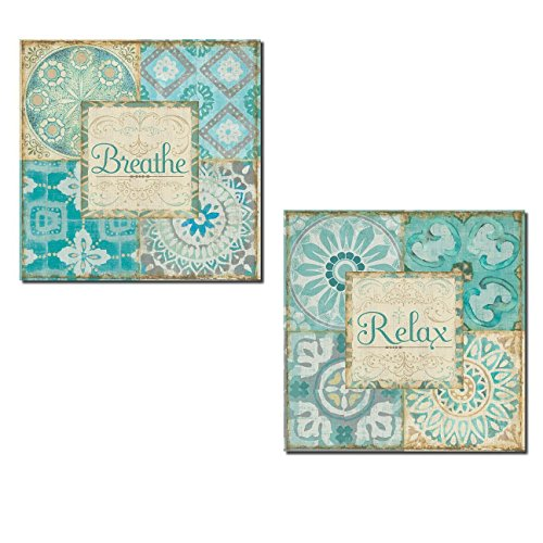 Gango Home Décor Lovely 'Breathe' and Relax' Inspirational Patterned Spa Paper Signs by Pel Studio; Two 12x12in Poster Prints