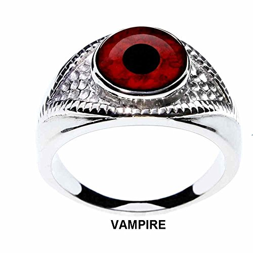 Steel Dragon Jewelry Unisex Red Vampire Glass Eye Ring in an Eye-Shaped Stainless Steel Setting (Vampire, 6) by Steel Dragon Jewelry (Image #2)