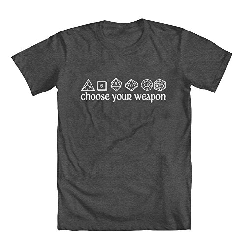 GEEK TEEZ DND Inspired Choose Your Weapon Youth Girls' T-Shirt Charcoal Medium