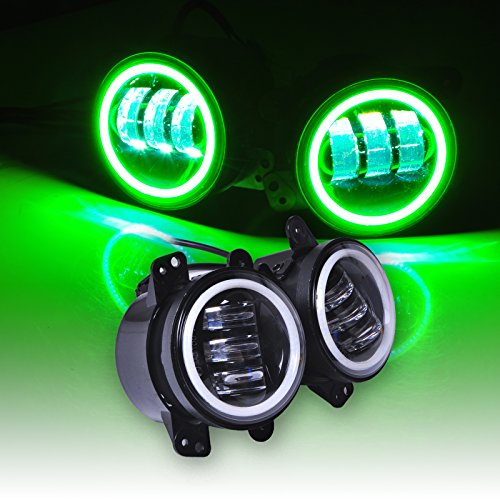 Fog Green (Omotor Pair 60W 4 Inch Round Cree Jeep Wrangler Led Fog Light Green Halo Ring & White Lamp DRL Bulb Angle Eyes for Jeep Wrangler JK LJ TJ Headlight Auto Driving Offroad Lamp Accessories)