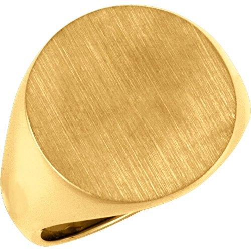 Men's Closed Back Brushed Signet Ring, 14k Yellow Gold (18 mm) Size 9 14k Yellow Gold Signet Ring