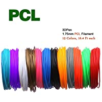 3d pen pcl filaments refills -1.75MM 3d doodler pen refills,Real stuff,blockage-proof (12 Colors,16.4 Ft each)