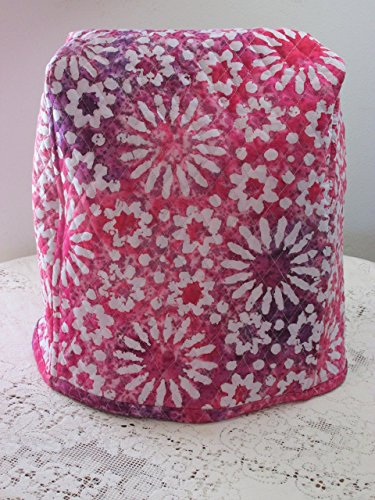 KitchenAid Mixer Cover - Pink Indian Batik Design with Pink & Purple Watercolor Reverse Side - Reversible Quilted Kitchen Appliance Dust Cover - Size and Pocket Options