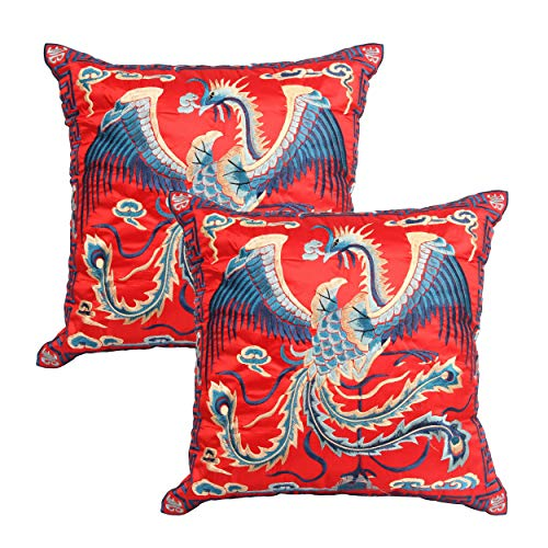 Queenie - 2 Pcs Silky Oriental Chinese Phoenix Embroidered Decorative Throw Pillow Case Cushion Cover 17.25 x 17.25 Inch 44 x 44 cm (SC28-44 Red) ()
