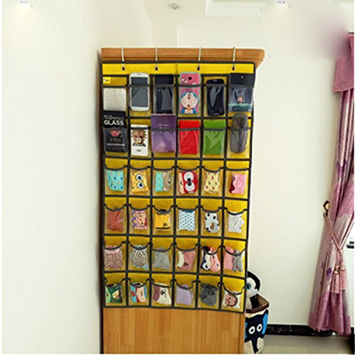 Lecent@ Classroom Pocket Chart for Cell Phones Business Cards 36 Pockets Wall Door Closet Mobile Hanging Storage Bag (Calculator Pocket Storage)
