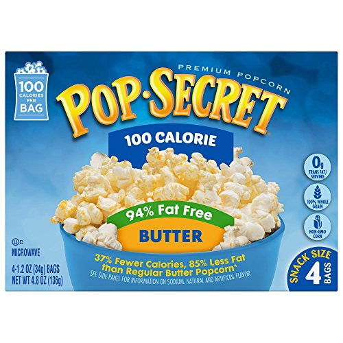 Pop Secret Popcorn, 100 Calorie 94% Fat Free Butter, 4 Count Boxes (Pack of 12) (Unpopped Popcorn Gift Baskets)