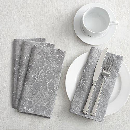 Poinsettia Legacy Damask Christmas Tablecloth (Silver, 18 X 18 Napkins Set of 4)