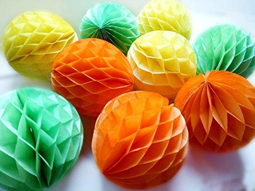 Daily Mall 9pcs 8 inch Honeycomb Balls Party Pom Poms Tissue Paper Honeycomb Balls Birthday Balls Decoration Wedding Partners Design Craft Hanging Pom-Pom Ball Home Nursery Decor (Orange Yellow Green)