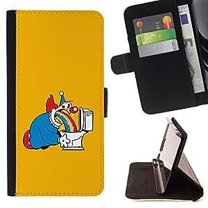BullDog Case - FOR/Apple Iphone 5 / 5S / - / clown horror cartoon comic character /- Monedero de cuero de la PU Llevar cubierta de la caja con el ID Credit Card Slots Flip funda de cuer