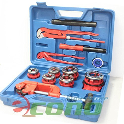 (10PC Manual Ratchet Pipe Threader Kit 6 Threading Dies Pipe Cutter & Wrenches, Model: , Outdoor & Hardware Store)