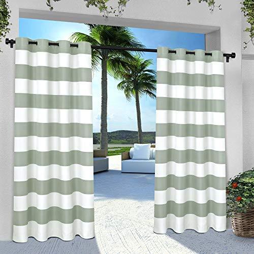Exclusive Home Curtains Indoor/Outdoor Stripe Cabana Grommet Top Curtain Panel Pair, 54x84, Sea Foam, 2 Piece (Designs Luxury Pergola)