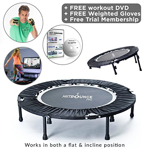 MXL MaXimus Life HIIT Bounce PRO Folding Mini Trampoline Rebounder with Flat or Adjustable Incline. Weighted Gloves, Mega Rebound Compilation DVD with 4 Awesome HIIT Rebounding Trampoline Workouts!