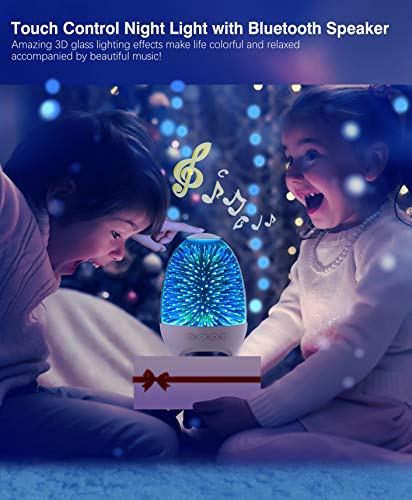 Aiscool Night Light Bluetooth Speaker, 3D Glass Touch Control Bedside Table Lamp 7-Color LED Portable Wireless Speakers…
