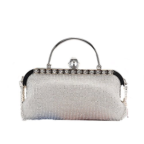 Evening Silver de Seora Crystal rabbit de Color Black Party Purse Clutch Purse Bolso Strhinestone Boda Lovely Sparkly waPqgpq
