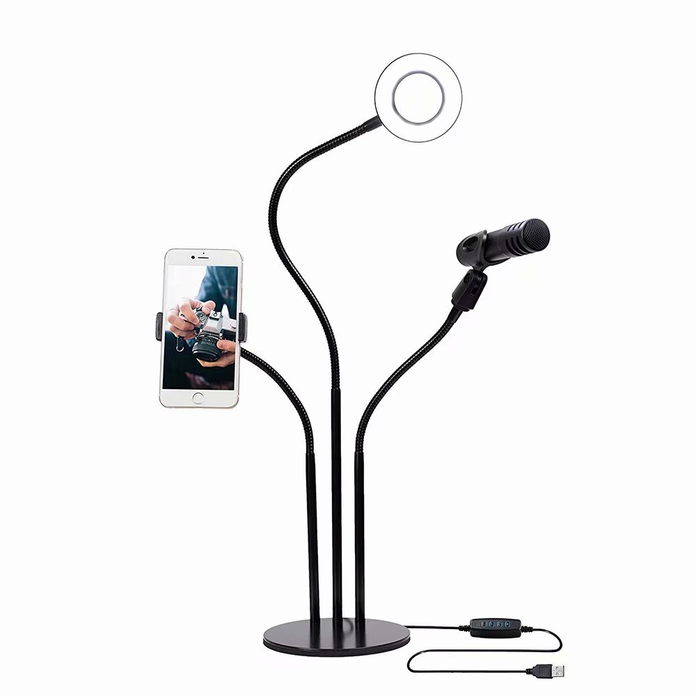 Inncen Selfie Ring Light with Microphone Stand & Cell Phone Holder for Livestream Lighting, Fill-in Beauty Light, Video Produce for All Types of iPhone/Samsung/Android Phone