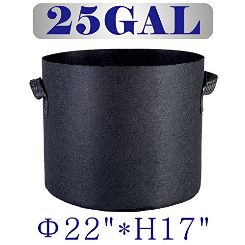 Hongruilite 1 2 3 5 7 10 15 20 25 Gallon 6/12/24-Pack Planting Grow Bags Black Fabric Grow Pots Bags for Hydroponic Indoor Plant Growing (25 Gallon w/Handles(24-pack))