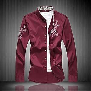 IYFBXl Camisa de algodón Activa para Hombre - Estampado de Color sólido, Vino, XXL: Amazon.es: Deportes y aire libre