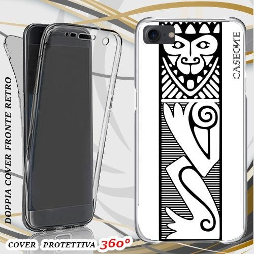 CUSTODIA COVER CASE AFRICAN ABSTRACT BLACKWHITE PER IPHONE 7 FRONT BACK