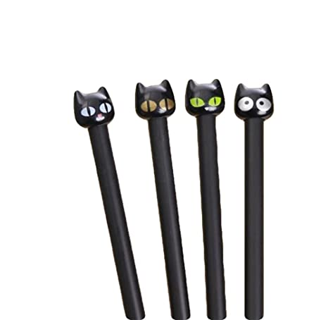 Kanggest 4 Unidades Plumas de Gel Creativas Kawaii Forma de Gato Bolígrafos de Gel Bonitos de
