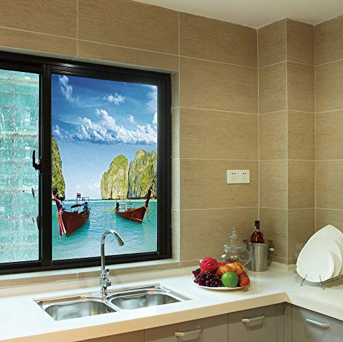 YOLIYANA No Glue Window Film,Landscape,for Window Moving Glass Door,Traditional Longtail Boats at Maya Bay in Thailand,24''x36''