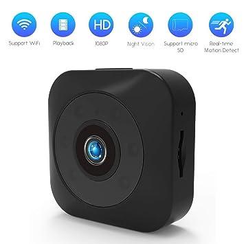 Cámara Oculta, cámara fotográfica de 1080P Mini, cámara sin Hilos de HD WiFi pequeña cámara de Interior de Seguridad casera detección del Movimiento,Black: ...