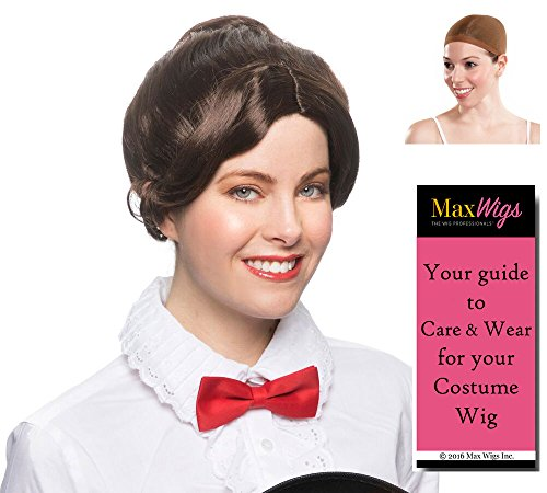 (Mary Poppins Nanny Color Brown - Enigma Wigs Gibson Edwardian Early 1900 Female Andrews Theater Bundle w/Cap, MaxWigs Costume Wig Care)