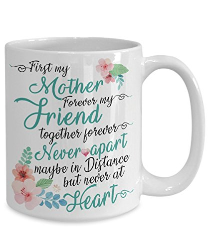 - Michigan New Jersey Long Distance State - First My Mother Forever My Friends, Love Knows No Distance - Ceramic Coffee/Tee Mug 15 oz White