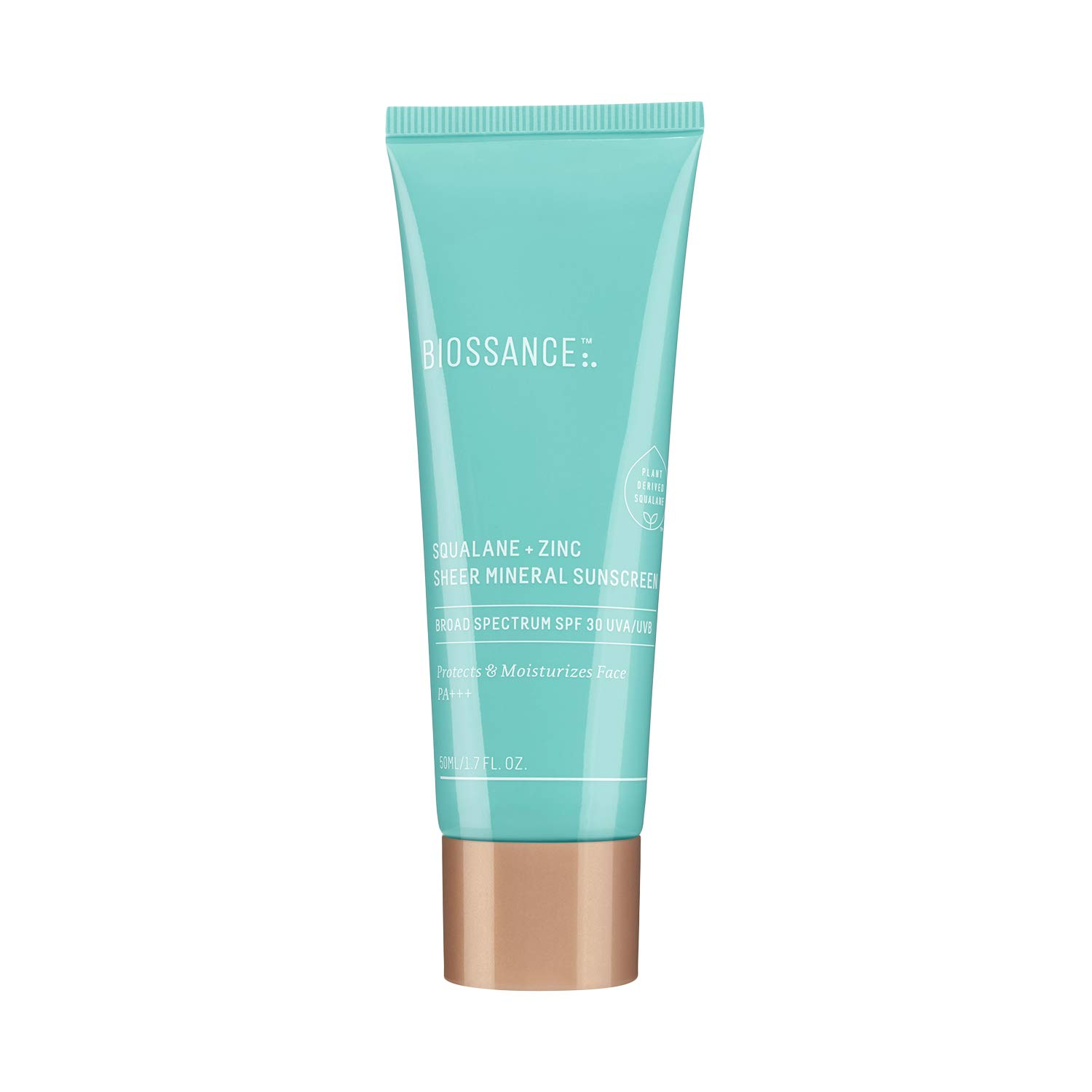 Biossance Squalane + Zinc Sheer Mineral Sunscreen - Vegan, Non-Toxic Sunscreen - 100% Non-Nano Zinc SPF 30 - No Parabens, PEG or Synthetic Fragrance (50 ml)