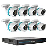EZVIZ Outdoor 1080p IP PoE Video Security Surveillance System, 8 Weatherproof HD Cameras, 16 Channel 3TB NVR Storage, 100ft Night Vision, Motion Detection