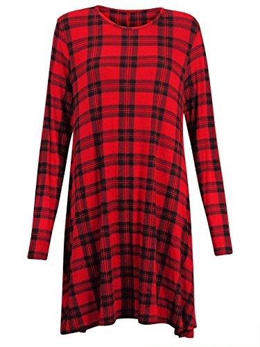 NUEVO MUJER MUJER DE MANGA LARGA de impresión de tartán Swing acampanado Vestido de Cuadros Vestido Manga Larga Plus Talla UK 8–�?6 Tartán Rojo