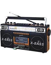 SuperSonic - Retro 4 Band Radio & Cassette Player with Bluetooth, Boomboxes - Wood Grain (SC-3201BT)