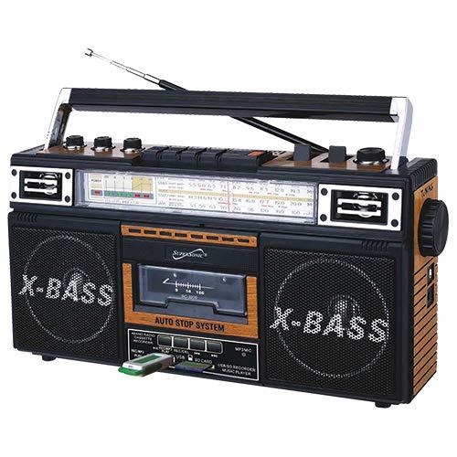 Retro Boom Box (SuperSonic SC-3200 Retro Bluetooth Speakers: Built-in Radio and Cassette)