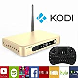 WISEWO Android TV Box with Quad Core Amlogic S812 Octa Core Mali-450 Streaming Media Player Bluetooth 4.0 Dual Channel Wifi 4K2K KODI Fully Loaded HD Smart TV Box with I8 Keyboard Remote Mouse