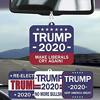 Six Senses Media Pack of 4 Donald Trump - Hanging Air Freshener, Patriotic Election for Supporting President, Auto Air Freshener or Home Air Freshener, 4 Patterns 4 Scent: Automotive