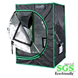 Quictent SGS Approved Eco-friendly 24''x24''x36'' Reflective Mylar Hydroponic Grow Tent with Obeservation Window and waterproof Floor Tray for Indoor Plant Growing 2'x2'