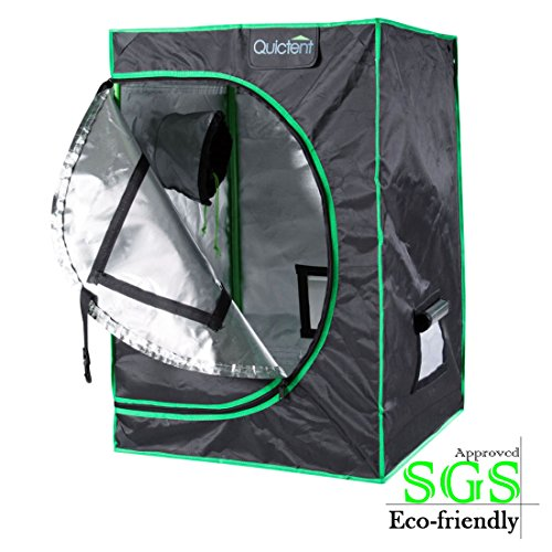 Quictent SGS Approved Eco-friendly 24''x24''x36'' Reflective Mylar Hydroponic Grow Tent with Obeservation Window and waterproof Floor Tray for Indoor Plant Growing 2'x2' by Quictent
