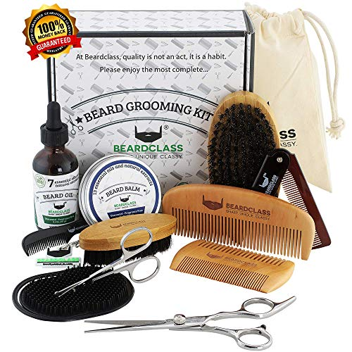 BEARDCLASS Beard Grooming Kit Set for Men (12 in 1) - 100% Bamboo Boar Beard Brush and Wooden Comb, Organic 2 Oz. Beard Mustache Oil and Balm Wax with Diffuser Palm Comb, Scissors and Gift Box