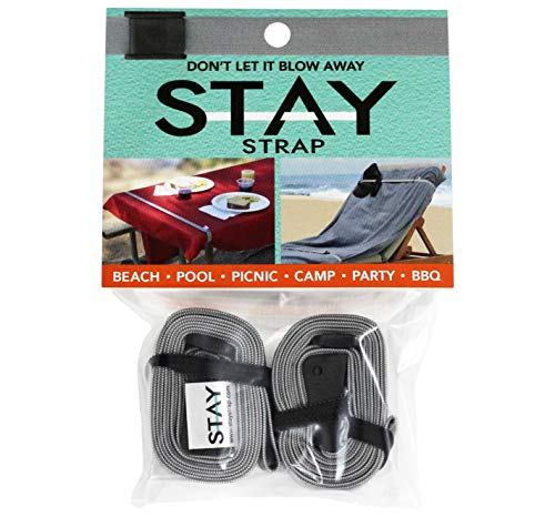Stay Strap   2-Pack Multi Purpose Utility Strap. Picnic, Beach, Pool, Camping, Resort, Travel, Cruise, Outdoor, Tablecloth, Towel, Lounging, Party, Birthday, Wind, Supplies, BBQ, Park, Band, Rubber,